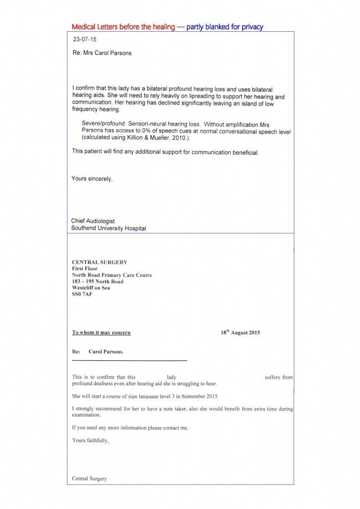 Carol s doctors letters - English